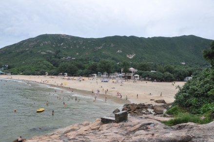 Shek O beach from the rocky headlands
