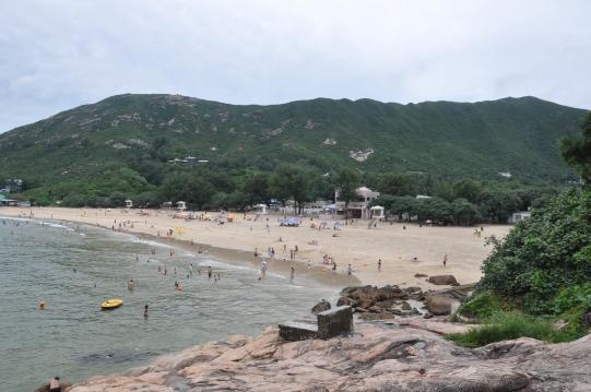 Shek O beach from the rocky headlands