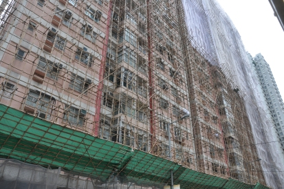 New meets old with bamboo scaffolding